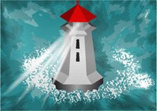 Lighthouse in the sea Royalty Free Stock Image