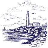 Lighthouse and sea landscape hand drawn vector illustration sketch. Lighthouse and sea landscape hand drawn vector illustration realistic sketch vector illustration