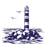 Lighthouse and sea landscape hand drawn vector illustration sketch Stock Images