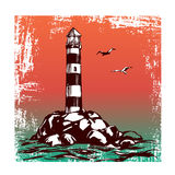 Lighthouse and sea landscape hand drawn vector illustration sketch. Lighthouse and sea landscape hand drawn vector illustration realistic sketch royalty free illustration