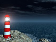 Lighthouse on the sea night Stock Photography