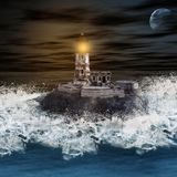 Lighthouse, Sea, Ocean, Surf, Wave Stock Images