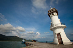 Lighthouse at the sea pier on Ko Chang island Stock Images
