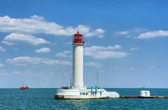 Lighthouse in sea port Royalty Free Stock Photography