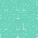 Lighthouse, sea, sailboat, moonlight night illustration. Flat line landscape seamless pattern including lighthouse, sea, sailboat, moonlight night. Green color Royalty Free Stock Photography