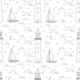 Lighthouse, sea, sailboat, moonlight night illustration. Flat line landscape seamless pattern including lighthouse, sea, sailboat, moonlight night. White and Royalty Free Stock Image