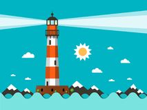 Lighthouse on Sea with Sun and Mountains. Lighthouse on Sea Flat Design Vector Stock Illustration