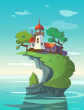 Lighthouse. In the sea. Vector illustration Stock Image