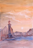 Lighthouse at sea watercolor painting Royalty Free Stock Image