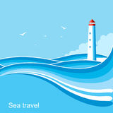 Lighthouse.Sea waves blue background illustration Royalty Free Stock Photography
