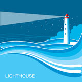 Lighthouse.Sea waves blue night background illustration Royalty Free Stock Photos