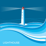 Lighthouse.Sea waves blue night background illustration for text Royalty Free Stock Photo
