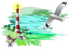 Lighthouse and Seagull (vector) Royalty Free Stock Photography