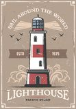 Nautical sail marine adventure lighthouse poster. Lighthouse and seagulls on retro poster. Vector nautical adventure and sea or ocean sail and seafarer trip vector illustration