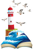 Lighthouse and seagulls at sea Stock Photos