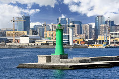 Lighthouse at seaport, Naples (Italy) Royalty Free Stock Photo