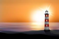 Lighthouse on the seashore at sunset. Illustration royalty free illustration