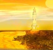 Lighthouse seen from a tiny beach Stock Photos
