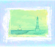 Lighthouse seen from a tiny beach - Grunge Poster Stock Photo