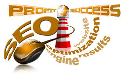 Lighthouse SEO - Search engine optimization web. Illustration with lighthouse, globe, mouse and written SEO Stock Images