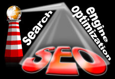 Lighthouse SEO - Search engine optimization web. Illustration with a lighthouse that illuminates written seo, search engine optimization Stock Photos