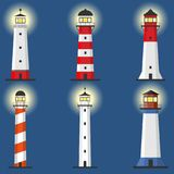 Lighthouse, Set of lighthouses, path lighting. Lighthouse shines at night. Flat design, illustration royalty free illustration