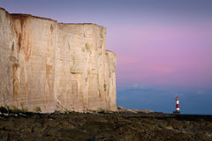 Lighthouse at Seven Sisters cliffs. Stock Images