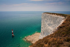 Lighthouse at Seven Sisters cliffs. Royalty Free Stock Photography