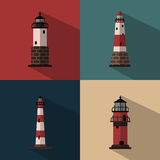 Lighthouse. Several types of lighthouses on colored backgrounds Stock Photos