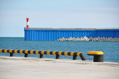Lighthouse and sheet pile wall Stock Image