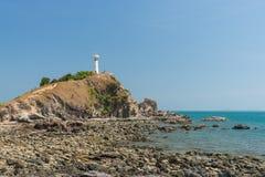 Lighthouse shines on Koh Lanta navigation. Navigation Lighthouse on Lanta in Thailand Royalty Free Stock Photo
