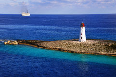 Lighthouse and ship Stock Photo