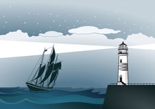 Lighthouse and ship. An illustration of a coast with a lighthouse and a sailing ship Stock Photos
