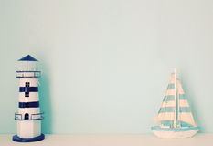 Lighthouse and ship model for decorated in room Royalty Free Stock Photography