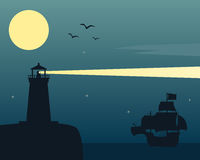 Lighthouse and Ship in the Moonlight. Night scene with the silhouettes of a lighthouse and a sailing boat with a big moon in the sky. Eps file available royalty free illustration