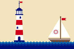 Lighthouse and ship Stock Photos