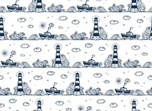 Lighthouse, ship, waves and clouds in kids doodle style seamless pattern. Lighthouse, ship, waves and clouds in kids doodle style, vector seamless pattern royalty free illustration