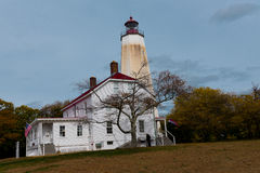 Lighthouse. Shot of the historic Sandy Hook lighthouse on a cloudy Autumn day Royalty Free Stock Images