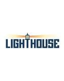 Lighthouse sign. Illustration of lighthouse sign with shining lamp, white background Stock Photography