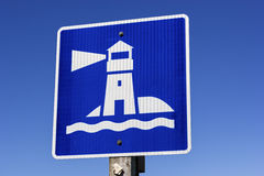 Lighthouse sign in New Brunswick in Canada Royalty Free Stock Photo
