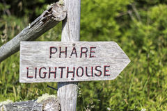 Lighthouse sign in Nova Scotia in Canada Royalty Free Stock Image