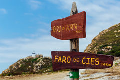 Lighthouse signs on the cies islands Royalty Free Stock Photo