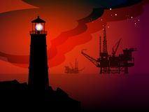 Lighthouse silhouette. Lighthouse and oil rigs silhouettes at night, color illustration Stock Images
