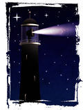Lighthouse silhouette at night. Abstract grunge illustration of lighthouse silhouette at night in the sea Stock Images