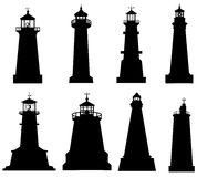Lighthouse silhouette set Stock Image