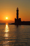 Lighthouse silhouette at sunset Royalty Free Stock Image