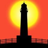 Lighthouse silhouette at Sunset. Illustration of lighthouse silhouette. isolated on sunset background stock illustration