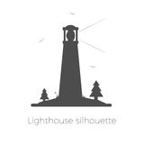 Lighthouse silhouette vector illustration. Beacon on island with trees, grass and seagulls. Isolated on white background Stock Image