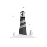 Lighthouse silhouette vector illustration. Beacon on island with trees, grass and seagulls. Isolated on white background. Grayscale and simple stock illustration