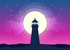 Lighthouse Silhouette Vector Moonlight Royalty Free Stock Photography